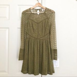 H&M Olive Green Lace Long Sleeved Dress